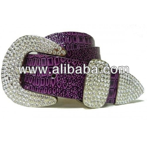 Ladies Rhinestone Crocodile Print Leather Belt