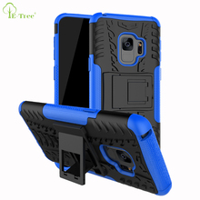 NEW TPU PC matte tire pattern shockproof rugged phone cover case for Samsung Galaxy S9 heavy duty armor kickstand case