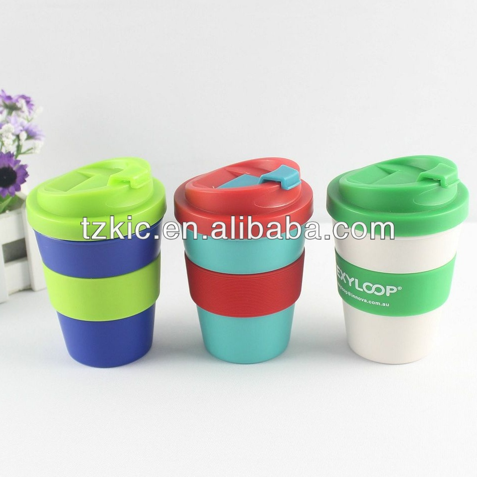 8oz Plastic coffee mug with anti spill lid and band