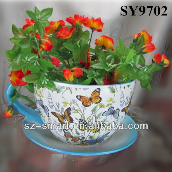 Ceramic flower cup and saucer planter