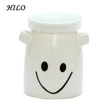 Cute Mini Ceramic Yogurt Container with Double Handles and Lid