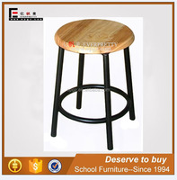 Strong Distressed Solid Wood Round Lab Stool with 4 Metal Leg