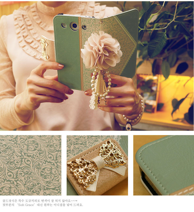 Diamond bling leather flip wallet case cover luxury lace bow leather wallet clutch Case for iPhone 4s 4