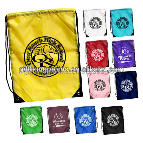 Hot promotional item customized 210D polyester drawstring bag