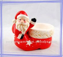 hand painted christmas decorative shoe shaped candle holder