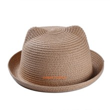 Promotional fashion women straw snapback hats Small Fedoras Stock