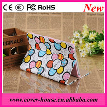 Factory price Cute Sunflower stand leather case for iPad mini