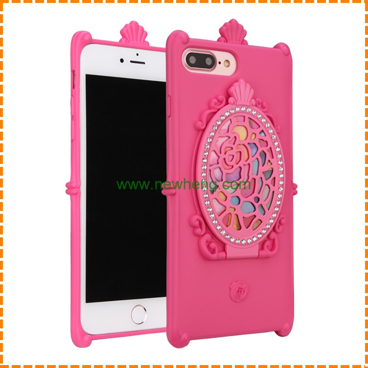 Wholesale Bling Diamond Magic Mirror stand silicone phone cover case for Iphone 7 plus