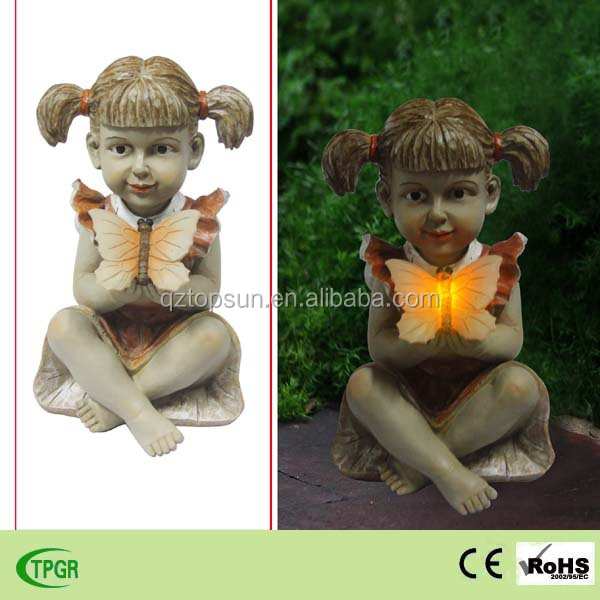 Polyresin figurine harvest girl with butterfly solar light