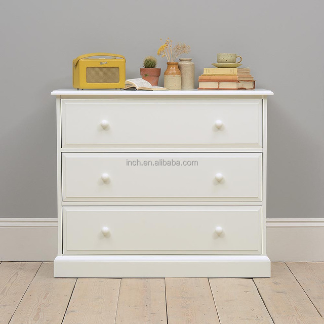 Scandinavian large white 3 drawers chest of drawers furniture