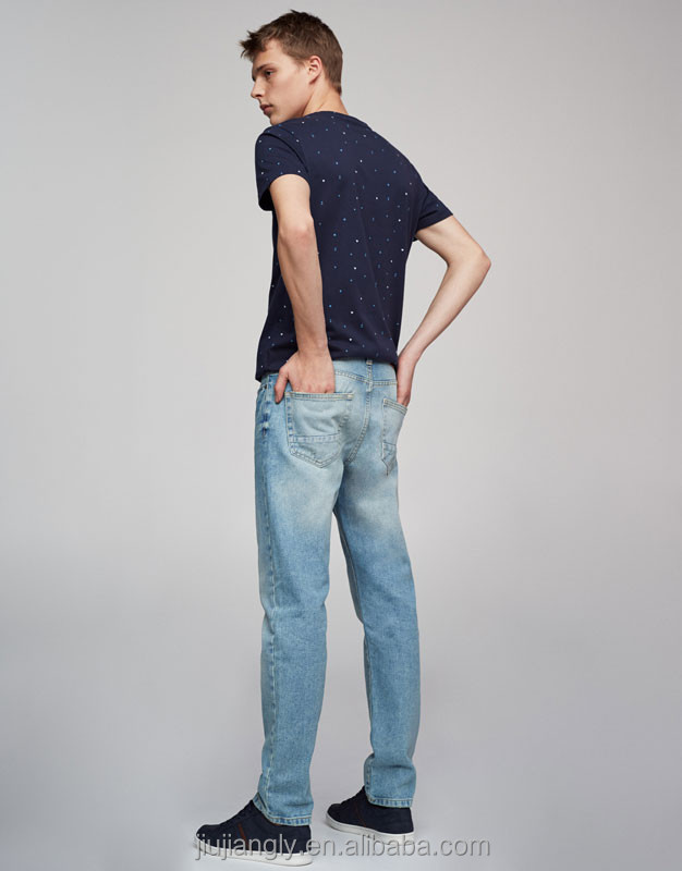 Men's regular fit blue jeans with monkey wash