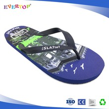 Brown wholesale flip flops customize printing high quality sandals men footwear