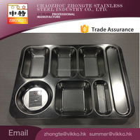Factory wholesale Stainless Steel 7compartment plate fast food mess tray for Army or School