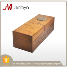 Luxury genuine wood custom packaging gift box for wine wholesale
