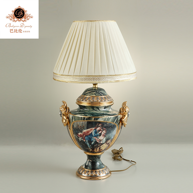 20 inch double belle relief luxury ceramic porcelain table lamp