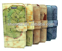 Atlas Map Vintage Leather Wallet Flip Fold Stand Cover Case for iphone 5 5c 5s
