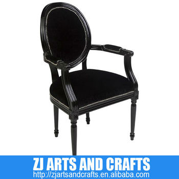 0383 Antique Chair (Black velvet carver chair with silver studs and dark brown birch legs.)