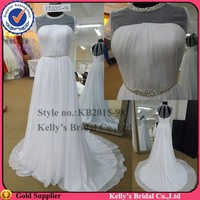 Newest dress design fashion style transparent top and hollow back western style wedding dresses detachable beaded belt