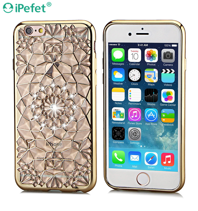3D Flower Electroplating TPU Bumper Diamond Cell Phone Case For iPhone 5s