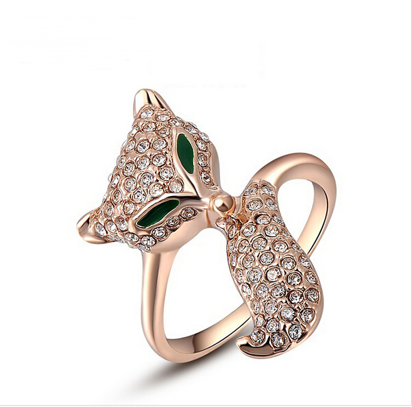 Best selling delicate wholesale metal rhinestone fox gold rings new model 2013
