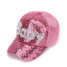 New Real Mesh Cap For Children Gift Baseball Caps Baby Diamond Sequin Sun Hats Adjustable Summer Kids And Hat Snapback