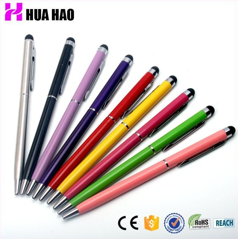 Novelty cheap promotional metal touch pen with logo stylus touch pen 2 in 1
