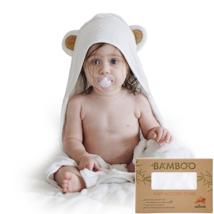 100% Organic bamboo baby hooded towels with bear ears/bamboo wash towel