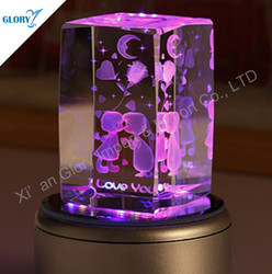 3D Laser Engraving Crystal Valentine's Day Love Music Box Gift