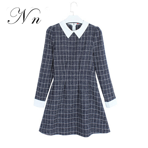 2015 Fashion Autumn Women Dress Winter Ladies Long Sleeve Vintage Mini Gray Casual Plaid Dresses Gowns Women Clothing XL WD10
