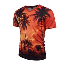 2017 New Style Custom printed 3D V-neck t-shirts for men/ OEM 3d printing t-shirt /polyester v-neck t shirt