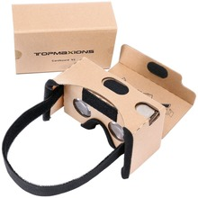 Google Cardboard, 3D VR Virtual Reality DIY Glasses For 3D Movies and Games Compatible with Android & iPhon Up to 6 Inch