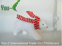 Christmas tree ornament 15cm small walking bear with white scarf
