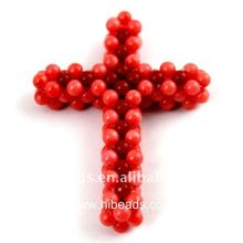 Fashion natural cross coral pendant CRP0106