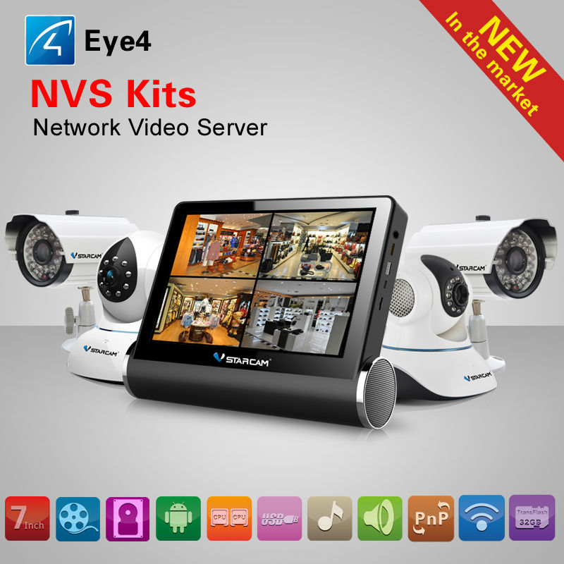 NVS-K200 7 inch HD Capacitive Touch Screen Network Video Recorders Wireless CCTV Kit DVR 4CH IP Camera NVR Wifi