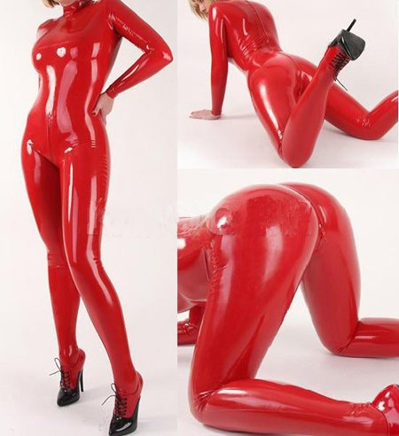 2015 sexy red Latex tights jumpsuit with stocking 100% handmade nature rubber catsuit plus size Hot sale