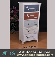 colorful wood cabinet, modern furniture with 5 drawers