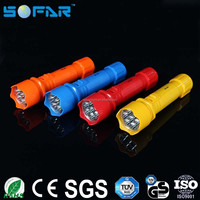 ABS material waterproof outdoor indoor most powerful high power flexible 7 LED flashlight
