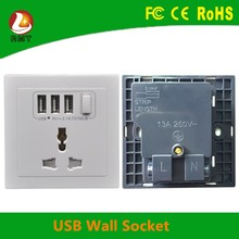 Fireproof and surge protector gfci TV satellite outlet 3 ports usb wall socket for charging
