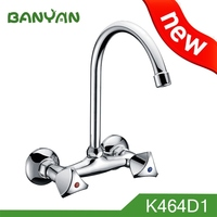 dual handle wall mount kitchen faucet with sprayer