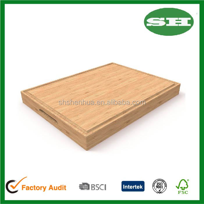Professional Butcher Block with Juice Groove Bamboo Cutting Board Serving Tray