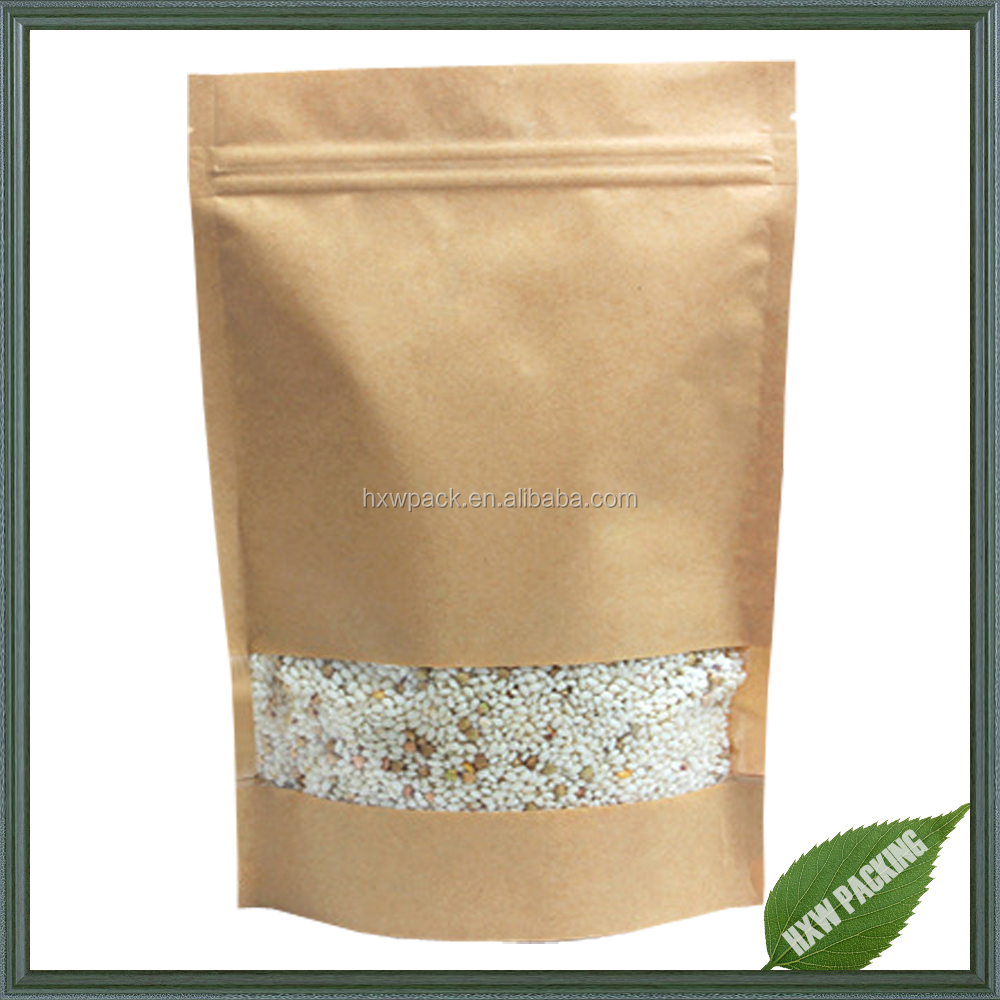Kraft paper bag for coffee beans/ seeds packaging ,paper bag with window