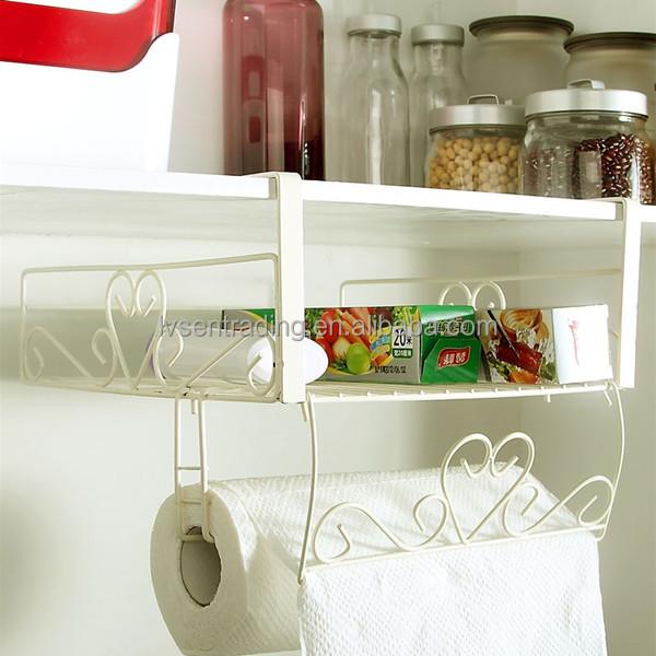 iron hanging wire under cabinet organizer shelf with. Black Bedroom Furniture Sets. Home Design Ideas