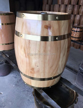 Natural wooden wine barrel