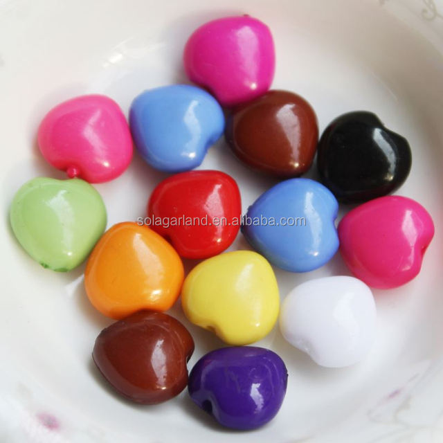 12MM Solid Mixed Color Plastic Crystal Heart Spacer Beads Agent