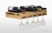 Handcrafted Wooden Bamboo Wall Wine Bottle Glass Rack Holder