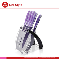5pcs Color non-stick Knife set with modern acrylic stand