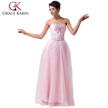 Grace Karin New Arrival Beautiful A Line Sweetheart Low Back Beaded Floor Length Long Tulle Evening Dress Pink CL6042