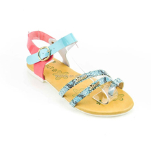 high quality competitive price thong snake texture little girls cute fashion flat sandals
