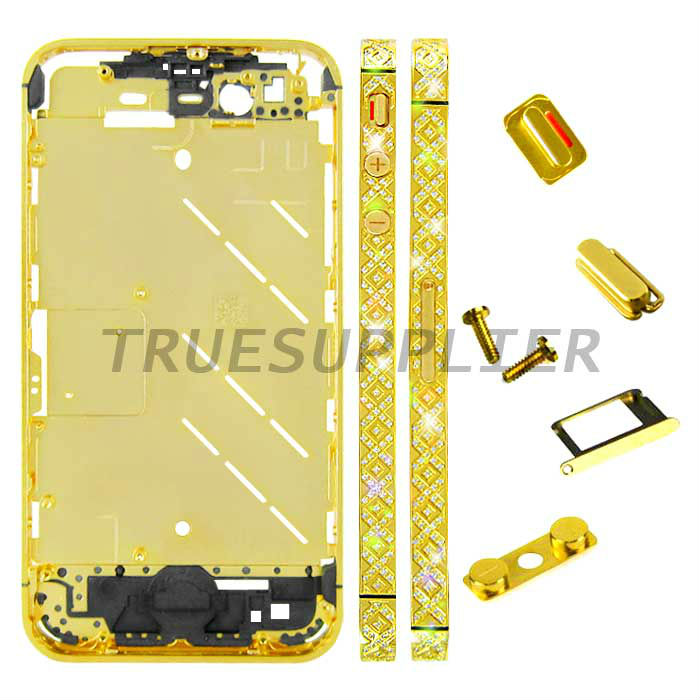 High Luxury Gold Crystal Diomand housing bezel Middle Plate Cross Design for Apple iPhone 4S