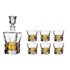 28OZ 830ML Square iceberg Whiskey Decanter set with 6 whiskey glass